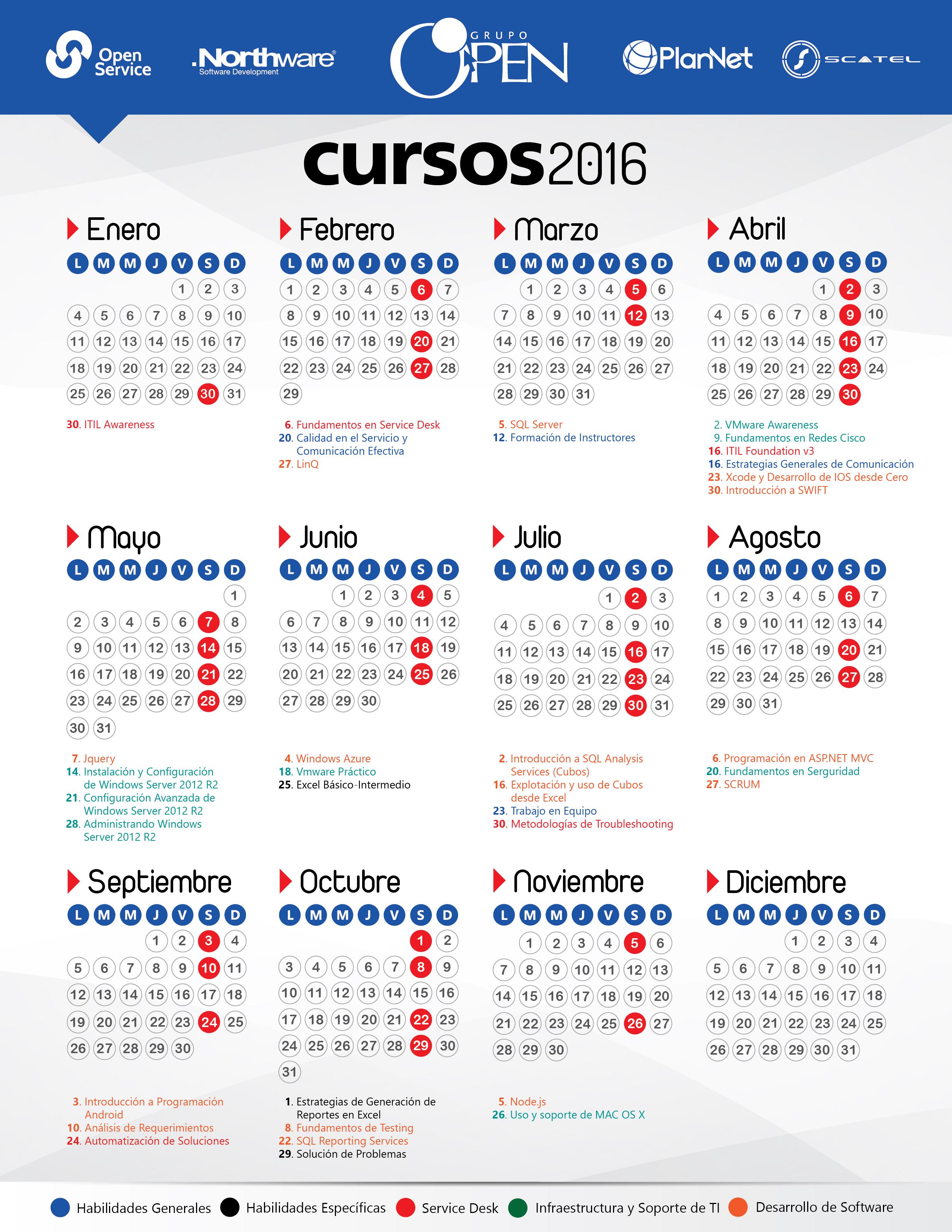 calendario cursos 2016